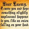 simonejester: text: dear enemy, I curse you and hope that something slightly unpleasant happens to you, like an onion falling on your ([text] dear enemy)