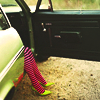 pennyroyal: Feet stepping out of a green car (Stepping out)