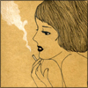 pennyroyal: Sketch of a girl with a cigarette (Lovepad: Smoke sepia)