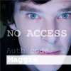kindkit: Sherlock Holmes, with overlaid computer screen text: no access (Sherlock: no access)