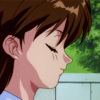 slapping: Keiko with her eyes close, expression neutral (Normality)