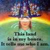 "sashajwolf: Tiffany Aching with Feegles swarming over her hat and the words ""This land is in my bones. It tells me who I am."" (in my bones)"