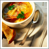 watersword: Image of a bowl of soup with a spoon and piece of bread. (Stock: soup)