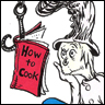 "watersword: A Dr. Seuss drawing of a fantastical creature solemnly reading a book entitled ""How to Cook"" (Stock: How To Cook)"