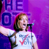 watersword: Allison Janney as CJ Cregg wearing a T-shirt that reads Rock the Vote (Politics: Rock the Vote)
