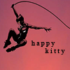 dancesontrains: Art of Catwoman swinging with her whip, and the text 'happy kitty' (Catwoman is happy)
