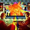 twisted_satyr: An orange cat is shooting rainbow lasers out of its eyes while a boy and girl sit in front of it on a couch (trippy kitty)
