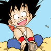 twisted_satyr: picture of son goku sitting on his floating cloud, happy (goku, dragon ball, happy~)