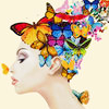st_aurafina: lady, with butterflies for hair (butterfly hair)