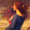 jennifer: painting of a girl with flowing red hair looking out to sea (miranda)