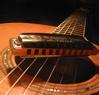 steelbrassnwood: One of my harmonicas on my Taylor 414 guitar. (harp-and-guitar)