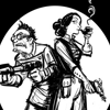 badgerbag: Cartoon of Ada Lovelace and Charles Babbage holding blaster pistols. (babbage, blaster pistols)