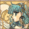 down: Umi from Magic Knight Rayearth. drawn art nouveau style with lots of jewellery (Umi)