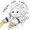 birdhousesoul: chibi with laser cats on both arms shooting rainbows (laser cats)