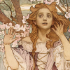 skygiants: an Art Nouveau-style lady raises her hand uncomfortably (artistically unnerved)