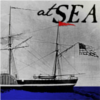 "sara: steamship with text, ""at SEA"" (at sea)"
