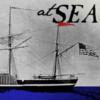 """sara: steamship with text, """"at SEA"""" (at sea)"""