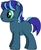 shadowspar: A My Little Pony with a deep azure coat, a mixed purple/cyan mane and tail, and green eyes (My Little Pony)