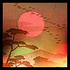 wallwalker: Painting of an orange sun setting behind hills, a tree and a flock of birds. (orange sunset)