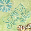 hollybee: Green Background with a flower, butterfly, and the word Spring (butterfly, flower, spring) (Default)