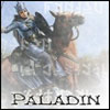 """ext_96351: Picture of woman on horse, battling wolves with a sword.  Reads """"Paladin"""". (paladin)"""