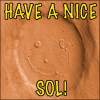 ext_96351: Picture of smily-face crater on Mars.  Says 'have a nice sol'. (happy)