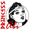 justabi: Classic b&w Wonder Woman logo inscribed with Princess Abi in red (Default)
