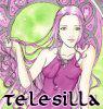 telesilla: a pale art nouveau girl with purple hair (purple girl)