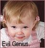 "cereta: My daughter, with ""Evil Genius"" (frog is an evil genius)"