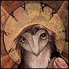 mererid: Illustration of anthropomorphized owl with halo (Owl Saint)