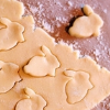 frangipani: rolled out dough with cut-out shapes (baking bunnies)