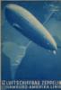 "luftschiffsyndikat: Blue travel brochure cover showing the ship and a map of the world behind it  ""Luftschiffbau Zeppelin, Hamburg-Amerika"" (Default)"