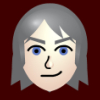 luftschiffsyndikat: Burgundy background, Zeke's head in the center cartoonized, neatly styled long white hair, sky blue eyes and a smirk (Zeke)