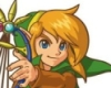 luftschiffsyndikat: 3/4 view of Seg holding a harp up, floppy green pointed cap, pointy ears, golden hair poking out, blue eyes, confident (Seg)