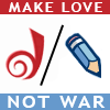 "denise: Image/Text: Dreamwidth and LiveJournal logos, with text ""make love, not war"" (Default)"