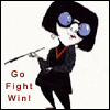 willow: Edna Mode from The Incredibles. Text: Go Fight Win! (Edna Mode: Go Fight Win!)