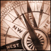 owl: compass in sepia, pointing north by west (compass)