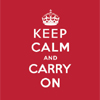 ruthi: on a red background, the words 'keep calm and carry on' in white. (keep calm and carry on)