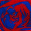 mikogalatea: A stylised red-and-blue silhouette of Kyouko and Sayaka from Madoka Magica. ([MadoMagi] Kyouko/Sayaka)