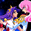 mikogalatea: Anthy and Utena from the Utena movie, dancing against a starry night sky. (Anthy/Utena)