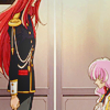 mikogalatea: Utena from the movie, sitting before Touga in the elevator. They're separated by a glass wall. ([Utena] Utena and Touga)
