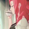 mikogalatea: Masako from Mawaru Penguindrum, sipping a cup of tea while looking out of a window. ([Penguindrum] Masako; plotting)