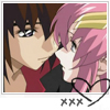 mikogalatea: Kira and Lacus from Gundam Seed, with their faces close enough together that their noses are almost touching. ([Seed] Kira/Lacus)