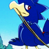 mikogalatea: A naughty Murkrow from Pokémon, pulling a bit of string with its beak. (Murkrow)