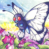 mikogalatea: Butterfree from Pokémon hovering before some big pink flowers. (Butterfree)