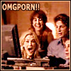 "paraka: Lindsay, Melanie, Brian and Mikey looking at a computer with the caption ""OMG PORN!!"" (QaF-L/M/B-OMG Porn)"