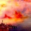 paraka: Atlantis with red and orange clouds (SGA-A-Colourful Atlantis)