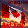"paraka: A Canadian flag at sunset with the caption ""strong and free"" (NF-Canada Strong and Free)"