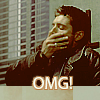 "paraka: Dean covering his mouth with his eyes closed leaning against the wall with the caption ""OMG!"" (SPN-D-OMG)"