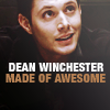 "paraka: Dean smirking and the caption ""Dean Winchester Made of Awesome"" (SPN-D-Made of Awesome)"